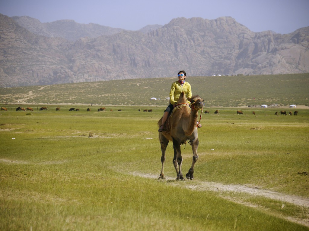 Szu-ting Yi riding camel Mongolia